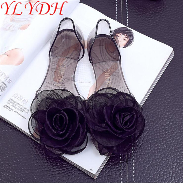 e685f3e075306c 2017 Summer Jelly Shoes Sleeves Women Casual Transparent Sandals Camellia  Lace Large Flower Fish Mouth Flat Bottom Crystal Shoes