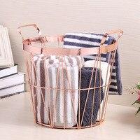 Nordic Rose Gold Metal Storage Basket Multifunction Bathroom Dirty Clothes Finishing Basket Portable Handles Organizer Basket