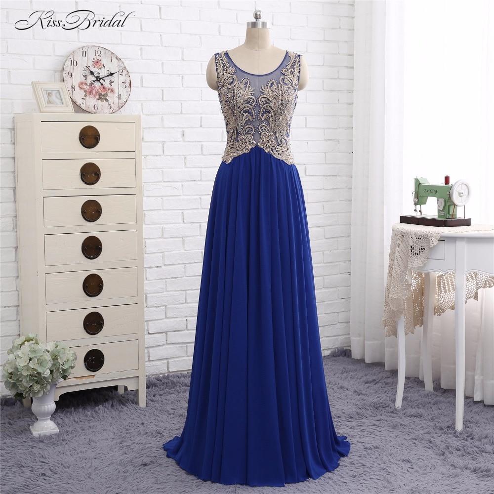The dress gold blue - Blue Formal Evening Dresses Long Robe De Soiree 2017 A Line Scoop Neck Gold Bead Chiffon