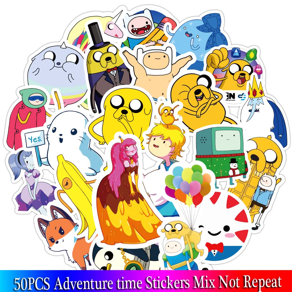 50 Pcs Adventure Time Cartoon Animal Sticker For Children Luggage Laptop Bicycle Motorcycle Notebook Toys Stickers Pack Sets