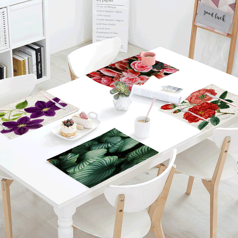Hot Sale Tablecloth Red Lotus Green Lotus Leaves Colorful Flowers Tea Coffee Napkins Kitchen Placemats Table Decor Western Flags