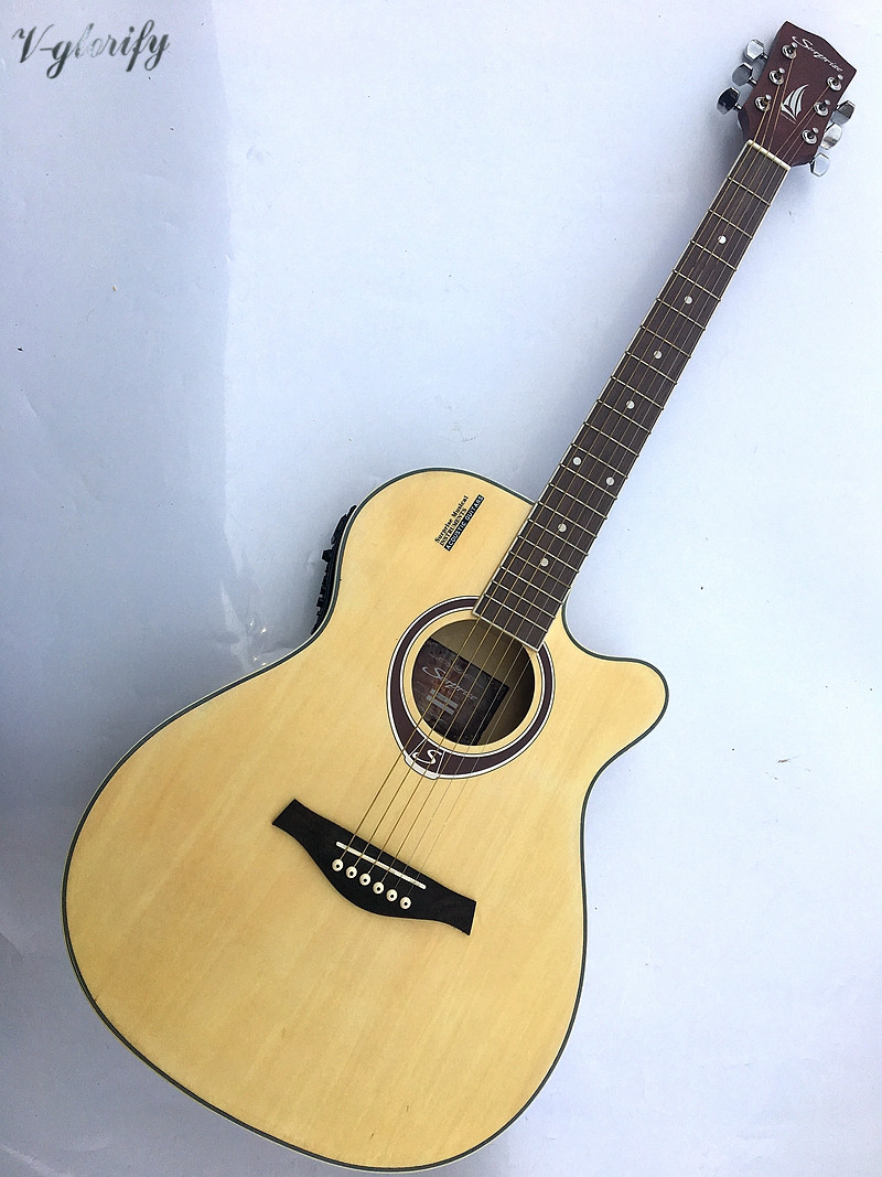 2018 new arrival good quality 40inch acoustic-electric guitar Linden wood /basswood top