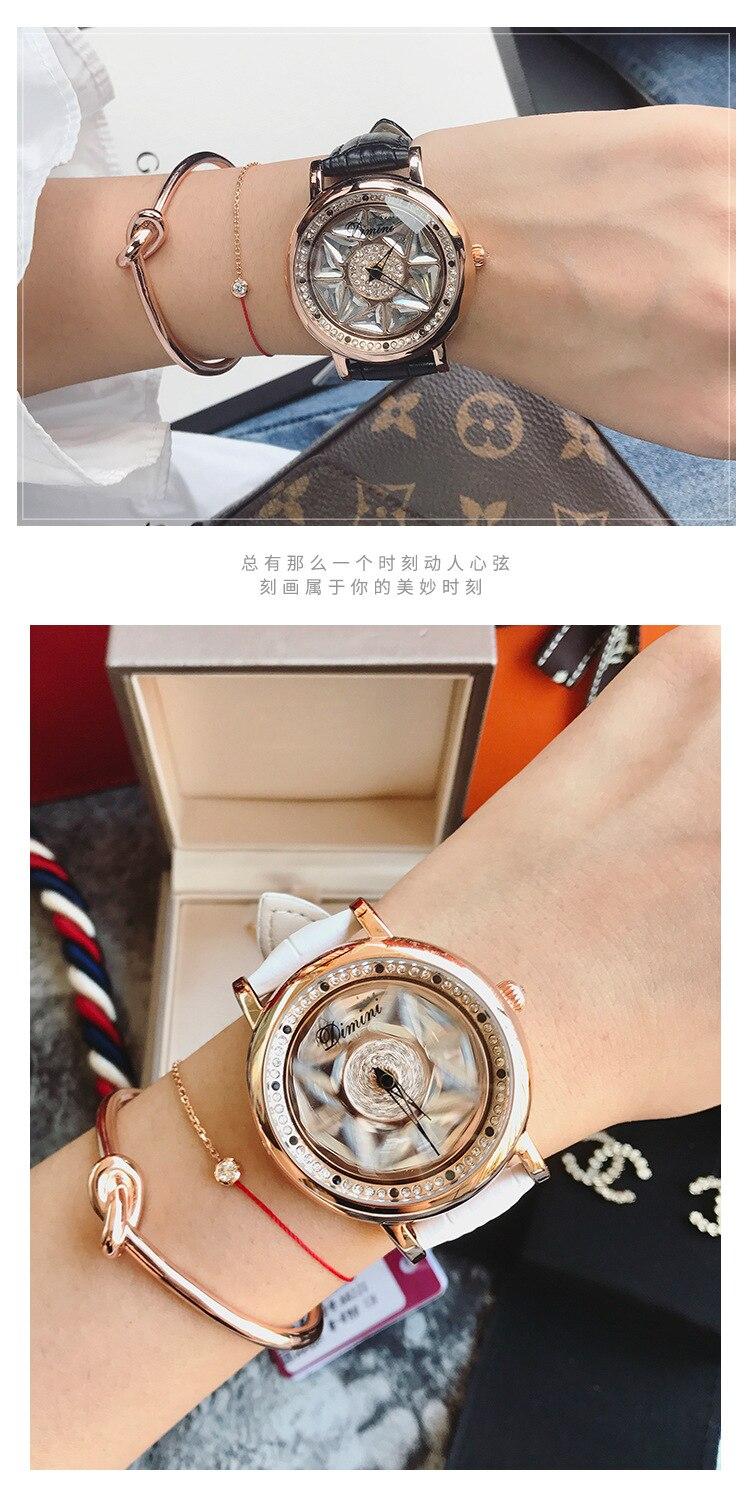 Mulheres elegantes Relógios Roxo Rotação Ladies Dress