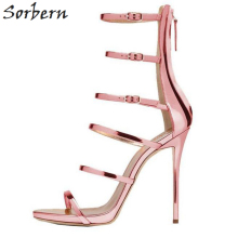 Sorbern Gladiator Style Women Sandals Multi Color High Heels Ankle Wrap Shoes 13cm High Heels Sexy Summer Shoes For Women