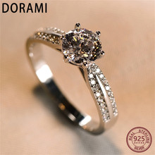 Dorami Women ring 1 carats Simulation diamond Genuine 100% S925 Sterling Silver Wedding Party Women ring Jewelry High quality