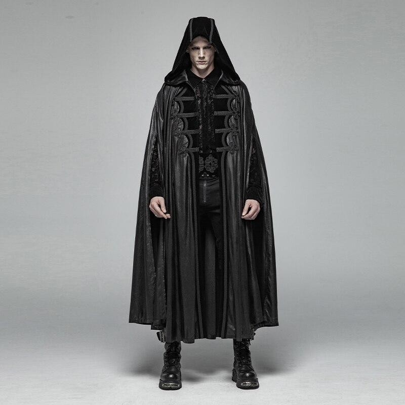 PUNK RAVE Hommes Gothique Rétro Mystérieux Manteau Hommes de Halloween Effectuer Vampire manteau pélerine Hommes Steampunk manteau long à capuche