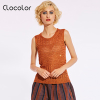 Clocolor Knitted Tank Tops Women Sleeveless Vest Tops Solid Slim O Round Crop Top Fashion New