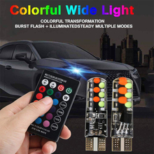 2pcs T10 12SMD LED Bulbs Car Lights RGB With Remote Control Strobe Led Lamp Emergency light for car driving lights