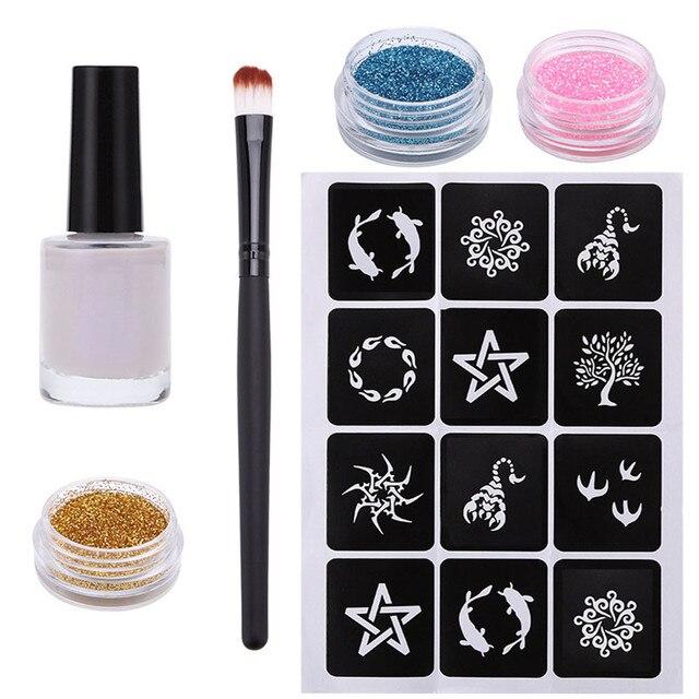 1 set Glitter tatuaje pegamento polvo temporal impermeable Anti-vida hidratante cuerpo pintura Kit brochas pegamento plantillas tatuaje set