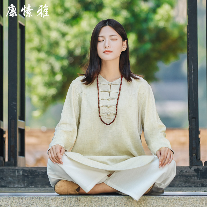 Linen Cotton Long Sleeved Clothes Comfortable Taiji Clothes Tai Chi Suit Kung Fu Performance Clothing Wushu Clothing Martial