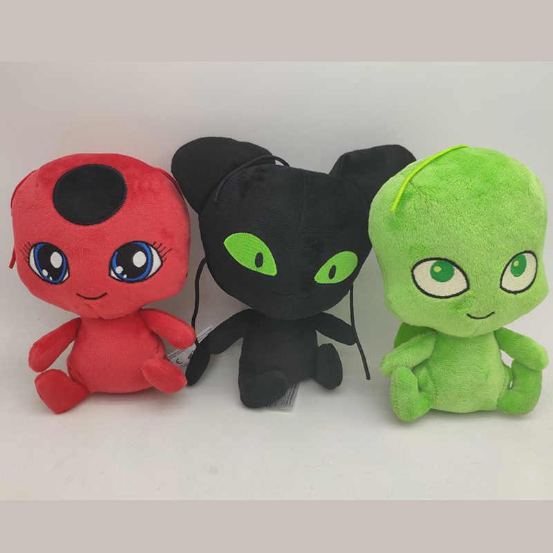 Quente 15-20cm joaninha bonecas de pelúcia senhora bug macio brinquedos de pelúcia crianças cosplay máscaras saco acessórios pingente plagg e tikki gato noir