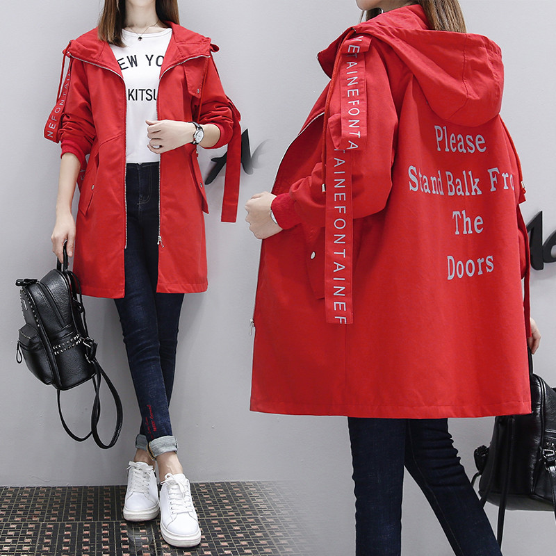 2019 New Korean Spring Autumn Long Hooded   Trench   Coats Female Outerwear Loose Baseball Uniform Windbreaker for Women X351