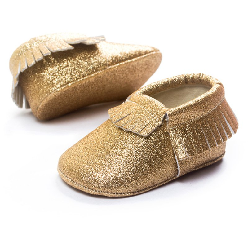 Bling Gold Tassel Toddler Moccasins First Walkers PU Leather Infant Toddler Soft Sole Crib Shoes Girl Princess Style Footwear