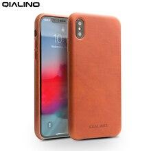 QIALINO جلد طبيعي الهاتف كم حقيبة لهاتف أي فون Xs ماكس الفاخرة الأعمال رقيقة الحافظة الغطاء الخلفي آيفون ماكس 6.5 بوصة