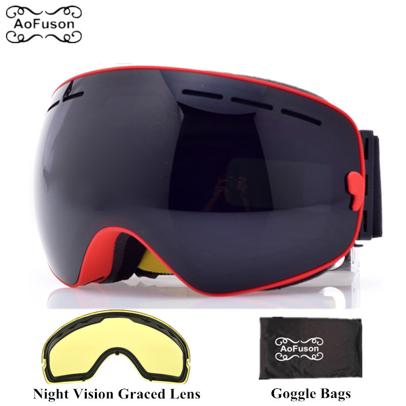 8fe9ffb81be Brand ski snowboard goggles with Yellow night vision lens double layers anti -fog big vision spherical mask winter skiing glasses