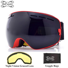 Brand ski snowboard goggles with Yellow night vision lens double layers anti fog big vision spherical