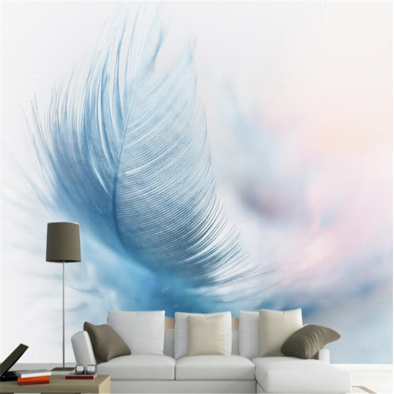 Us 8 85 41 Off Beibehang Custom Mural Photo Fashion Retro Modern Minimalistic Aesthetic Blue Feather Tv Background Wallpaper Papel De Parede 3d In