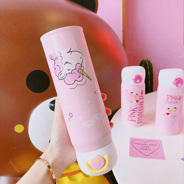 Boxi Portable dessin animé Thermo tasse en acier inoxydable enfants bouteille deau mignon licorne grande capacité voyage en plein air tasse deau potable