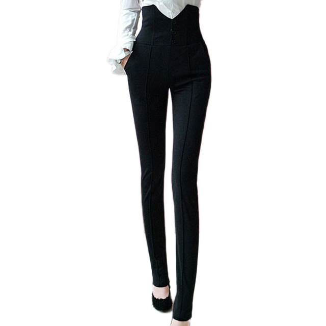 Hot sale 2017 Spring Summer Elastic fabric Women Pants Capris Black handsome Long super High waist Trousers tight, Women clothes