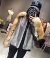 Catwalk Style Short Natural Fur Coats Women's Winter Real Red Fox Patchwork Whole Skin Mink Fur Coat