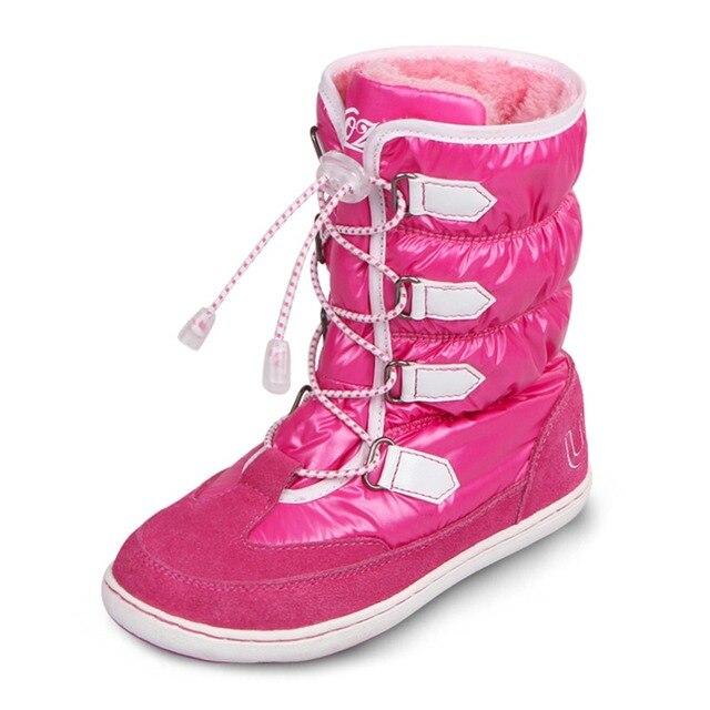UOVO середины икры банджи шнуровкой ботинки снега водонепроницаемый девушки сапоги большие девочки спортивная обувь искусственного меха подкладка дети сапоги для девочек