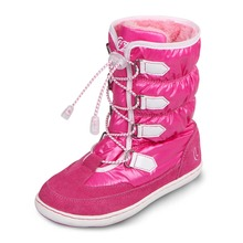 UOVO mid-calf bungee lacing snow boots waterproof girls boots big girls sport shoes faux fur lining kids boots for girls
