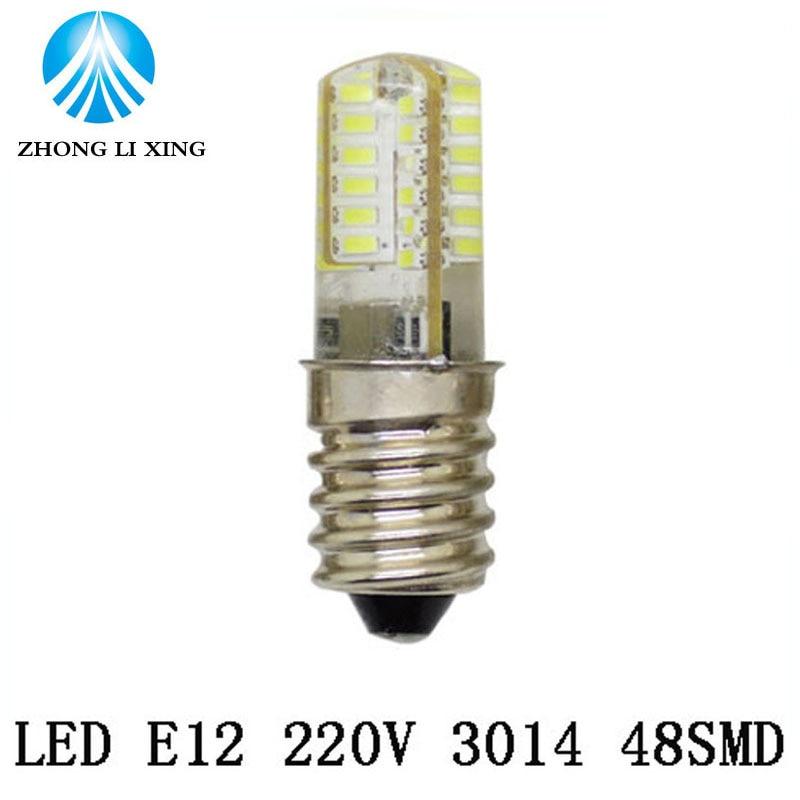 1x mini e12 ac 220v led corn lamp no dimmable 24 32 48 leds silicone bulb
