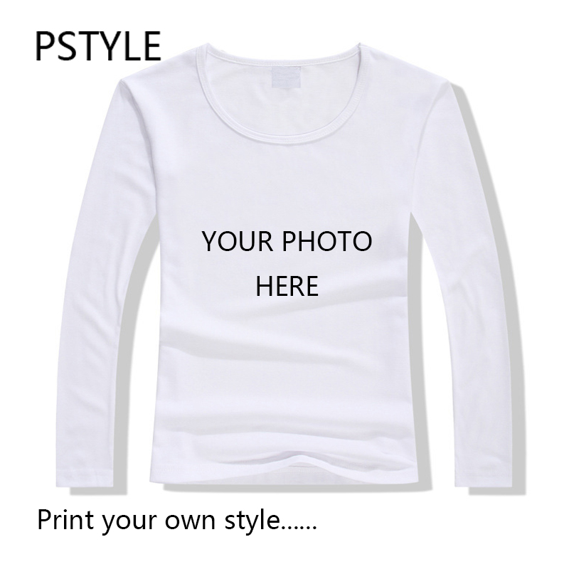 8a254a14 Customized Women's Long Sleeve T Shirt Tops Print Your Own Design Women  Casual Tops Tee Shirts