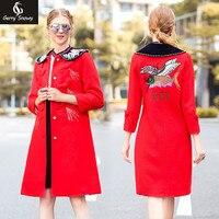 Красное пальто 2018 новые Для женщин пальто, ретро высокого класса вышивка, аппликация с длинным пальто, самосовершенствование ногти, бисер, м