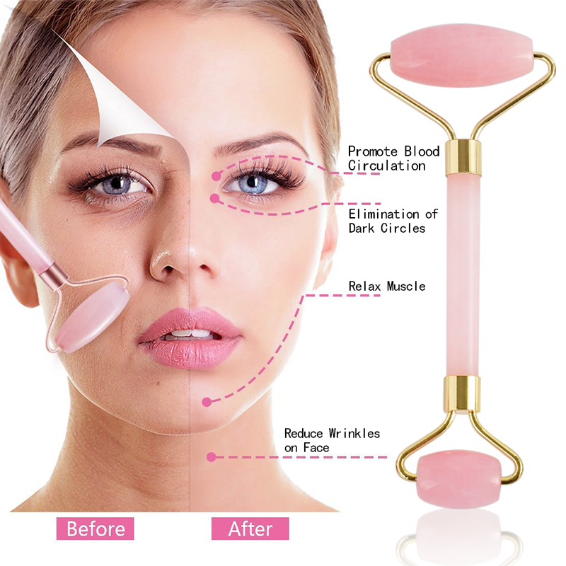 New style rose quartz Face Massage Roller Practical Jade Facial Anti Wrinkle Body Head Portable Nature Beauty Health Care Tools купить в Москве 2019