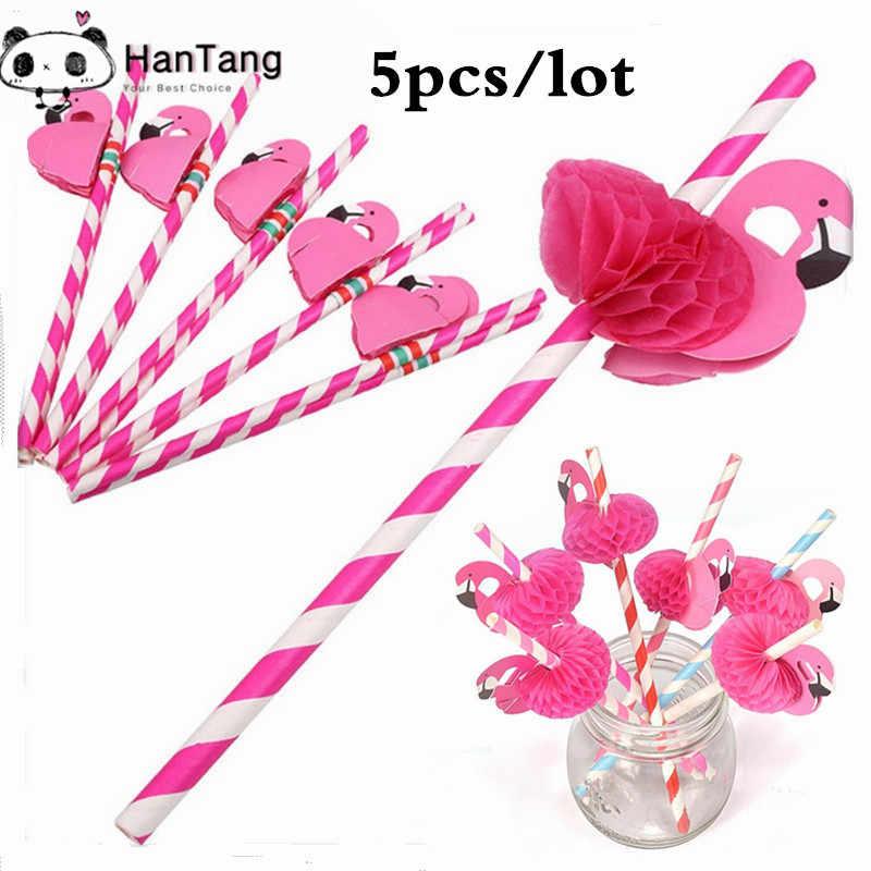 5 шт 3D Фламинго розовые джунгли бумага питьевые соломинки партия лето бассейн