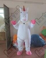Популярные Белый и розовый цвет Единорог талисмана лошадь костюмы