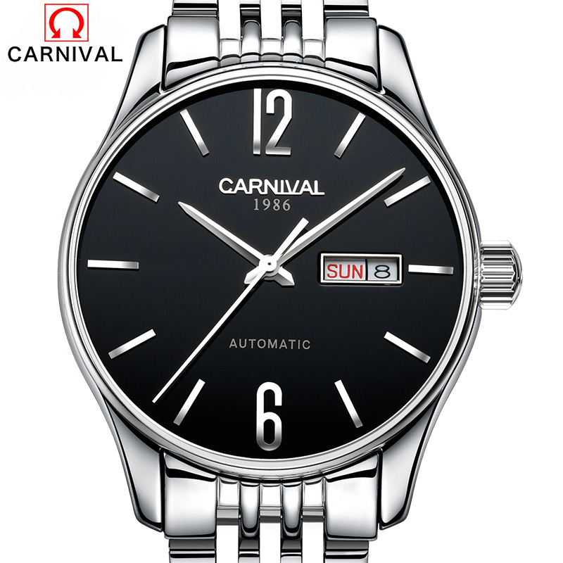 Carnival Automatic Mechanical Watches Men's Business Stainless Steel Clock relogio Luminous Waterproof Wristwatches reloj hombre все цены