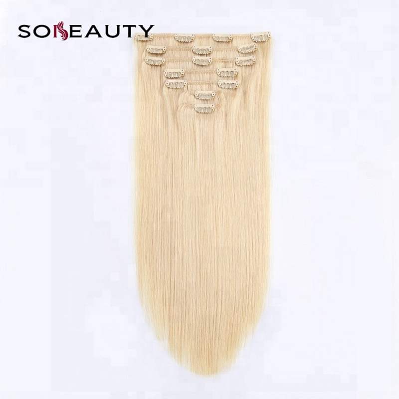 100% Human Hair Extension Strong Clip In Non-Remy Hair Extensions Silky Straight  #613 Color 100G/Set Clip Ins