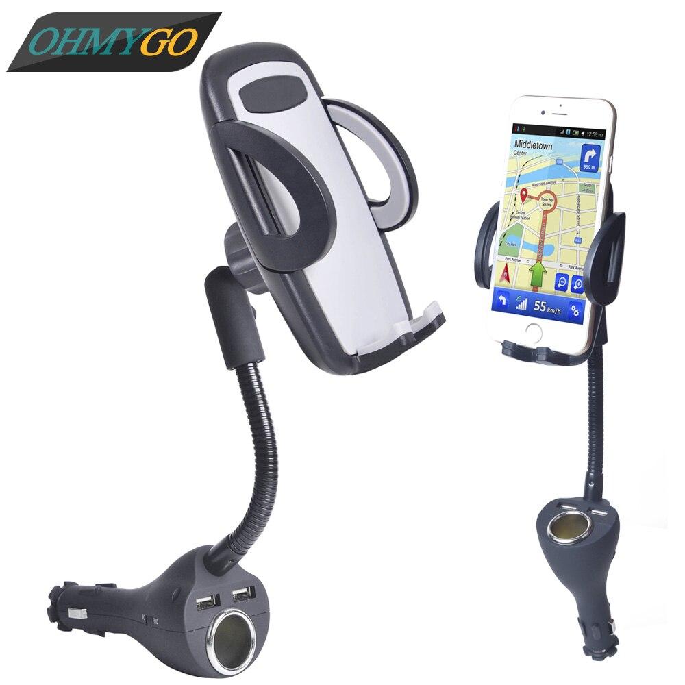 imágenes para OHMYGO Car Mount Holder Teléfono 2.4A Inteligente IC Dual USB cargador de encendedor de cigarrillos adaptador de corriente para iphone samsung galaxy etc teléfono