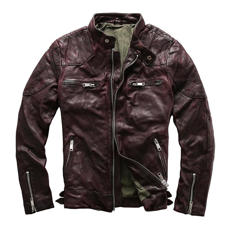 HARLEY DAMSON Vintage Brown Men Slim Fit Bikers Leather Jacket Plus Size XXXL Genuine Sheepskin Motorcycle Leather Coat