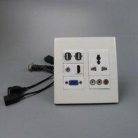 Universal Power Socket 3RCA Vga Hdmi 3 5mm Audio Dual USB Wall Plate With Back Female