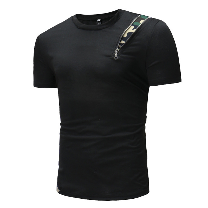 Summer new casual fashion tshirts men's solid color shoulder camouflage zipper decorative short sleeve mens clothing t shirts