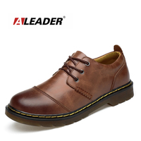 ALEADER High Quality Mens Oxford Shoes Genuine Leather Dress Shoes Casual Black Walking Flats Lace Up