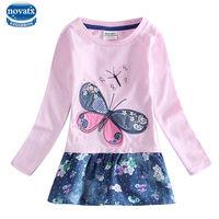 Retail Girl Dress Nova Brand Pink Flower Long Sleeve Kids Dress For Girls Clothes Children Clothing