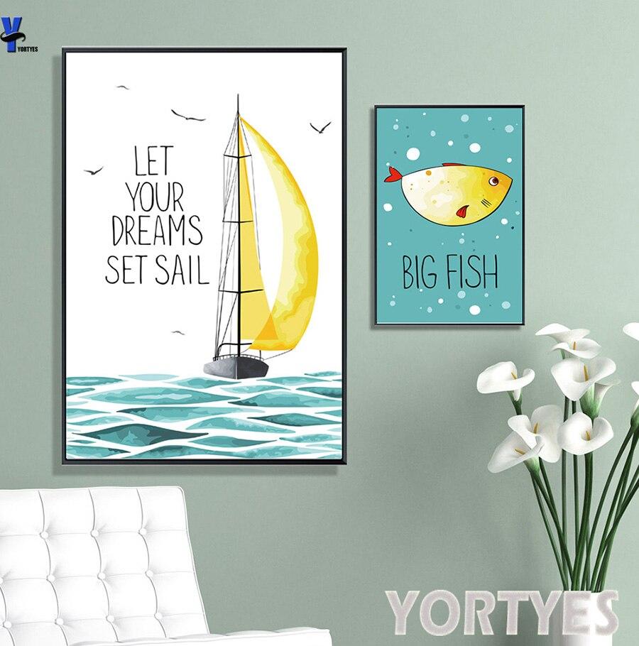 modern art animal print poster nordic minimalist wall picture fish