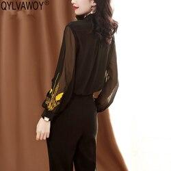 Blusa de seda 100% para Mujer, blusas bordadas para Primavera, 2019, blusa Sexy coreana Vintage, camisetas para Mujer J19030208