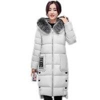 2017European American Style Winter Women Long Down Cotton Parkas Hooded Soft Fur Collar Women Winter Thicken