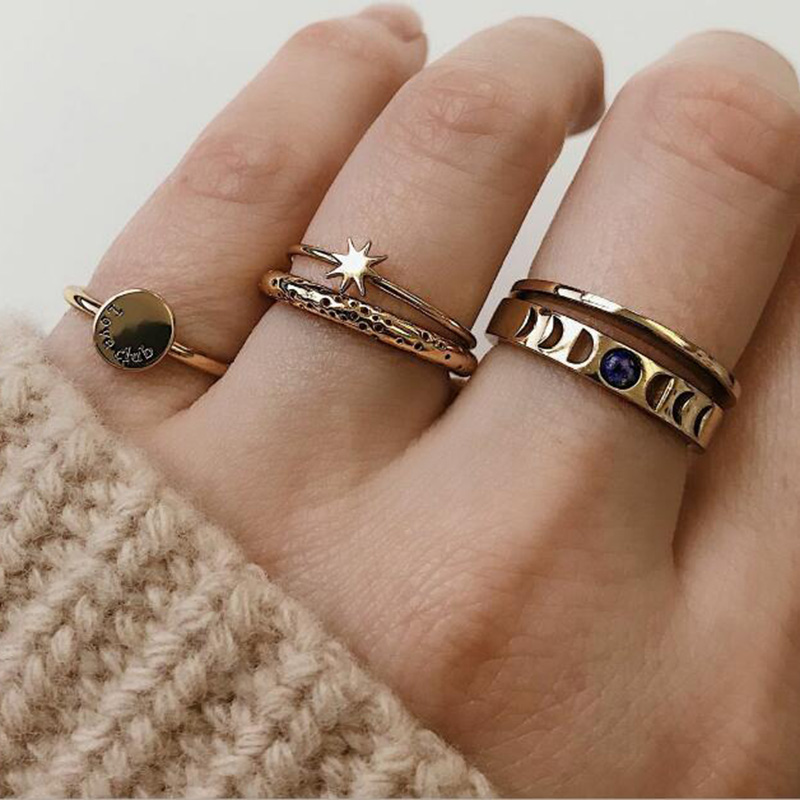 RscvonM Gold Color Retro Simple Knuckle Rings For Women Vintage Geometric Letter Sun Crystal Ring Set Party Bohemian Jewelry