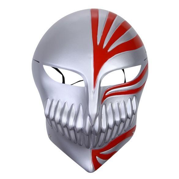 Bleach cosplay Kurosaki Ichigo bankai Full Hollow Mask (silver-in-red) For Halloween Party