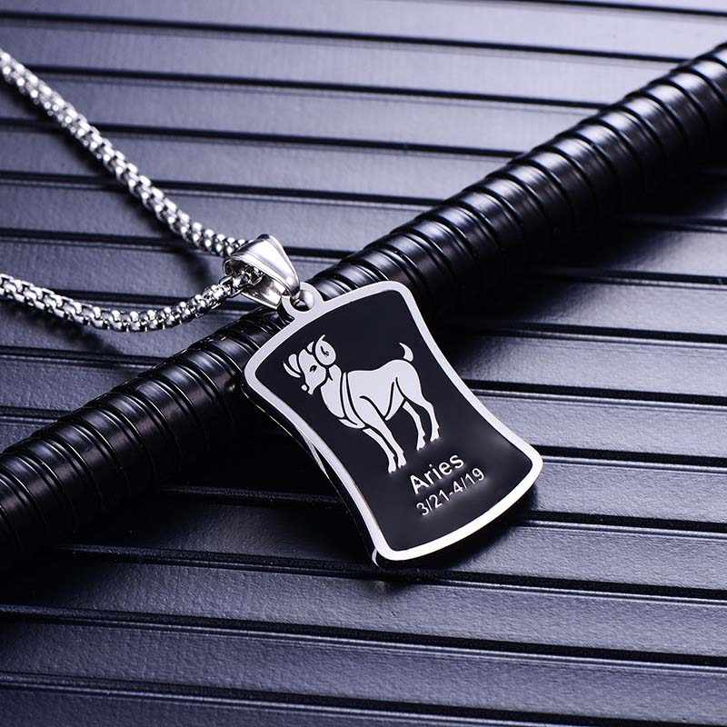 New Pendant Necklace Galaxy Constellation Design 12 Zodiac Sign Horoscope Astrology Necklace for Men Resin Square Jewelry