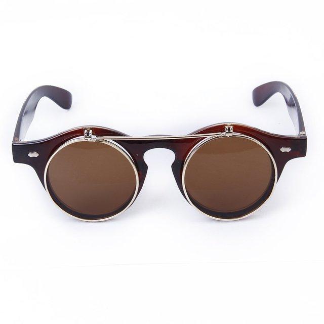 616772b18135 Vintage Steampunk Goggles Goth Retro Flip-Up Round Sunglasses Cosplay Prop