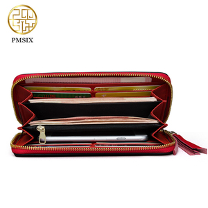 Image 5 - Pmsix 2020 Embroidery Cattle Split Leather Wallet Zipper Brand Long Womens Wallets Purses Black Red Ladies Clutch Wallet P420017