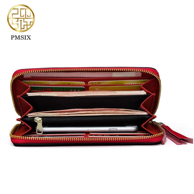 Image 5 - Длинный женский кошелек Pmsix, черный, красный, кожаный, на  молнии, с вышивкой, P420017ladies clutch walletbrand leather  walletleather wallet