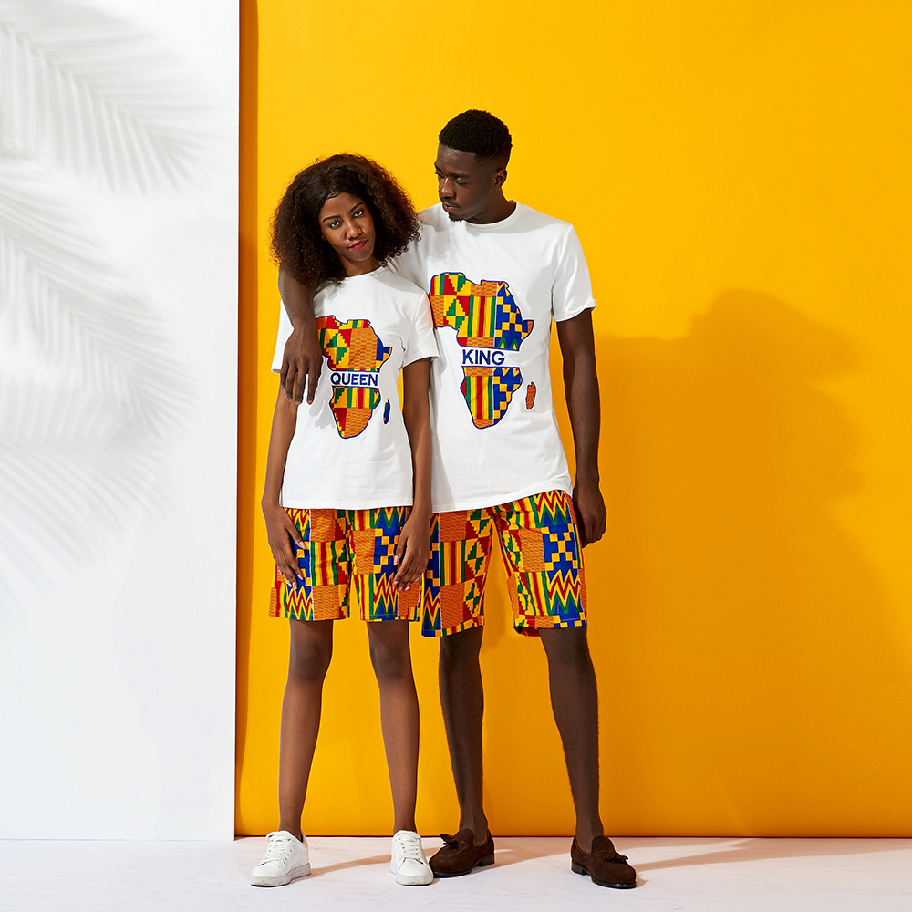 Couple africain vêtements chemise et Short 2 pièce traditionnel kente coton cire imprimé homme vêtements chemise à manches courtes
